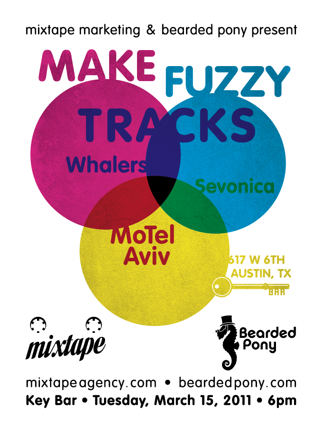 Make Fuzzy Tracks 2011 party poster